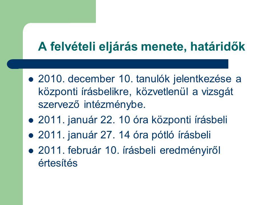 A felvételi eljárás menete, határidők 2010. december 10. tanulók jelentkezése a központi írásbelikre, közvetlenül a vizsgát szervező intézménybe. 2011