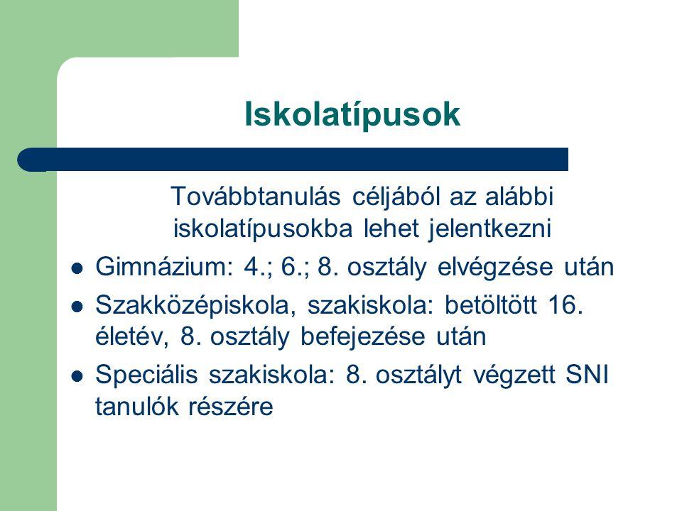 Iskolatípusok Továbbtanulás céljából az alábbi iskolatípusokba lehet jelentkezni Gimnázium: 4.; 6.; 8.