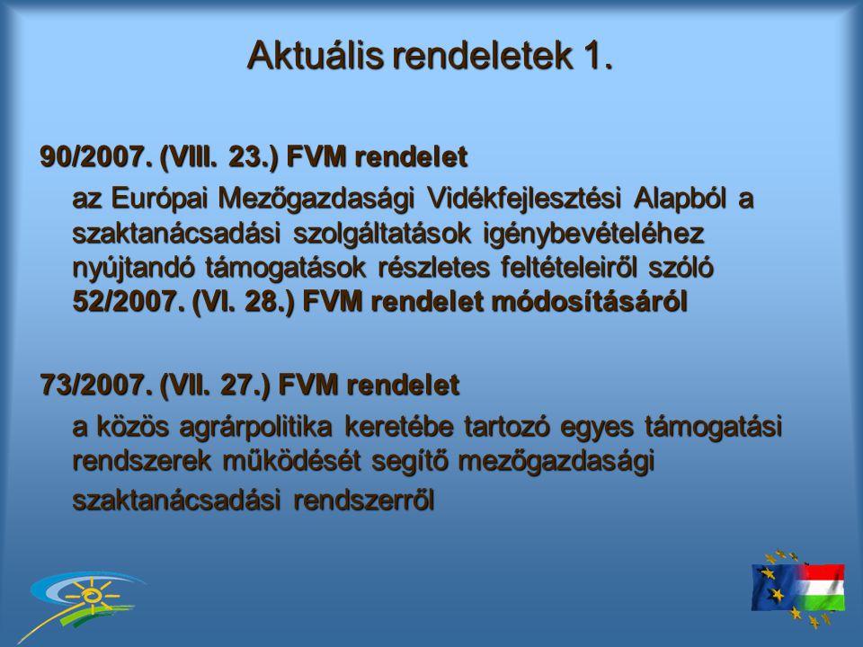 Aktuális rendeletek 1. 90/2007. (VIII.
