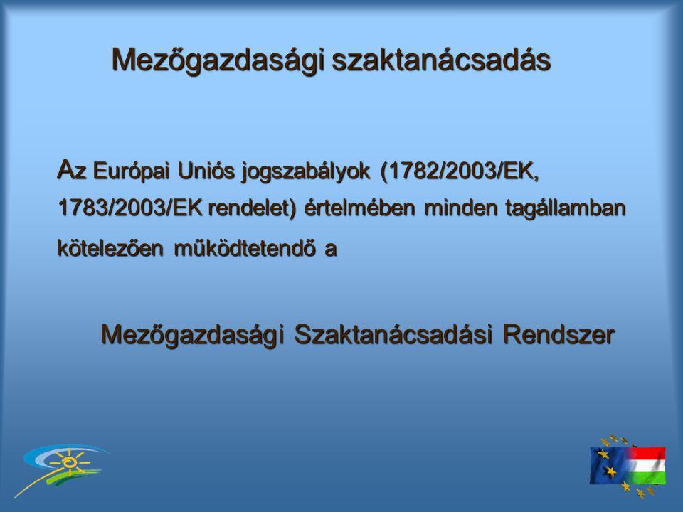 Mezőgazdasági szaktanácsadás A z Európai Uniós jogszabályok (1782/2003/EK, 1783/2003/EK rendelet) értelmében minden tagállamban kötelezően működtetendő a Mezőgazdasági Szaktanácsadási Rendszer
