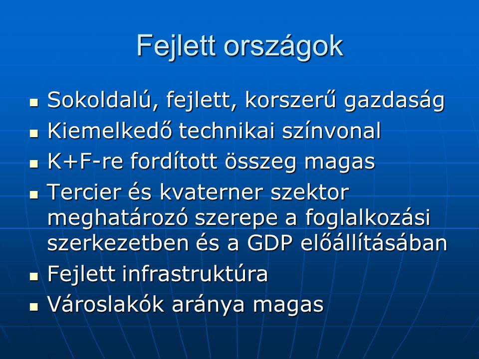 Fejlett országok Sokoldalú, fejlett, korszerű gazdaság Sokoldalú, fejlett, korszerű gazdaság Kiemelkedő technikai színvonal Kiemelkedő technikai színv