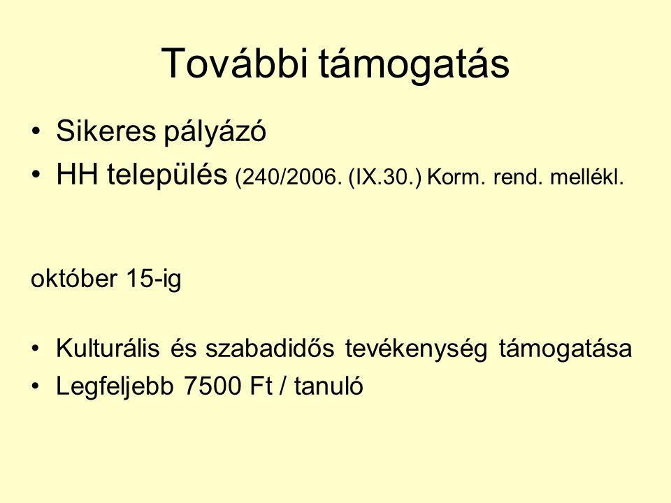 További támogatás Sikeres pályázó HH település (240/2006.