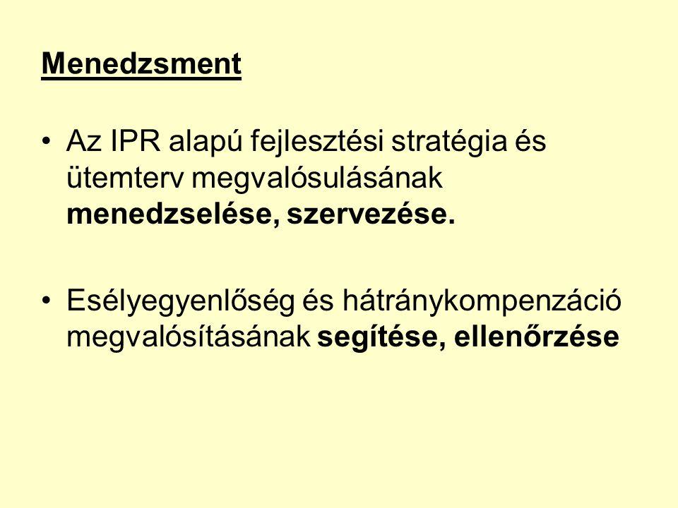 Menedzsment Az IPR alapú fejlesztési stratégia és ütemterv megvalósulásának menedzselése, szervezése.