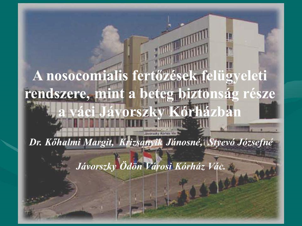 A nosocomialis fertőzések felügyeleti rendszere, mint a beteg biztonság része a váci Jávorszky Kórházban Dr. Kőhalmi Margit, Krizsanyik Jánosné, Styev