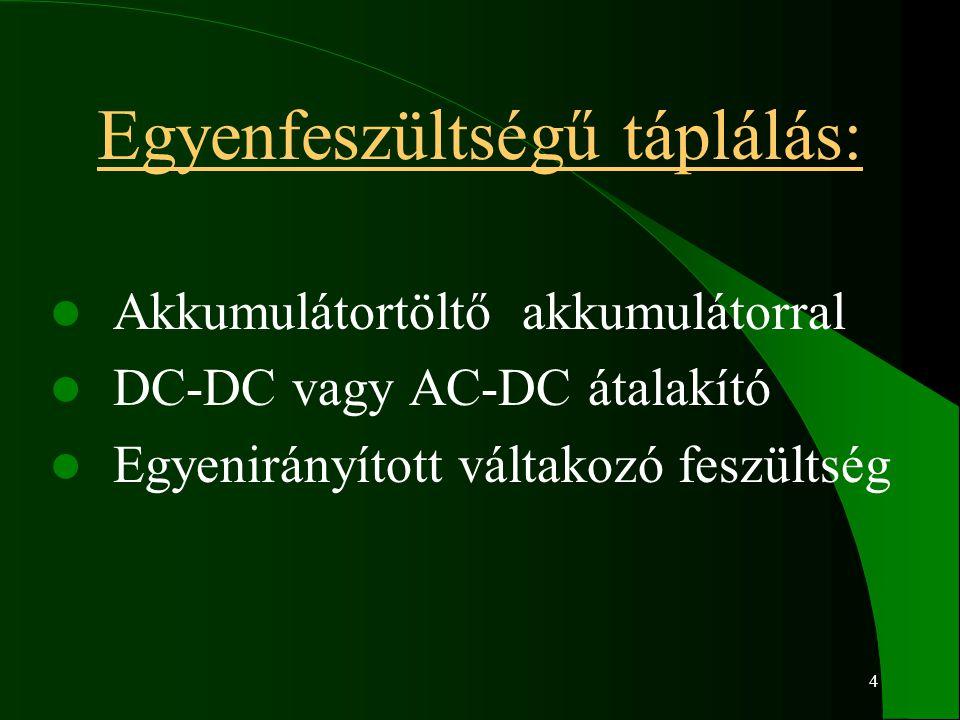 4 Egyenfeszültségű táplálás: Akkumulátortöltő akkumulátorral DC-DC vagy AC-DC átalakító Egyenirányított váltakozó feszültség