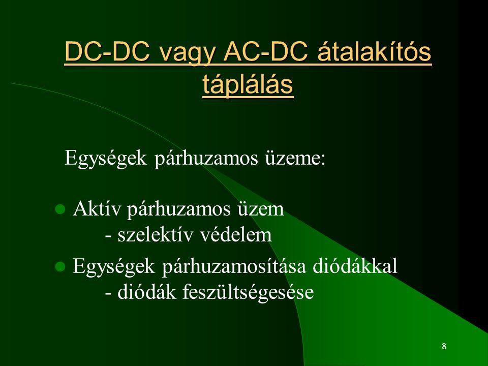 8 DC-DC vagy AC-DC átalakítós táplálás Egységek párhuzamos üzeme: Aktív párhuzamos üzem - szelektív védelem Egységek párhuzamosítása diódákkal - diódák feszültségesése