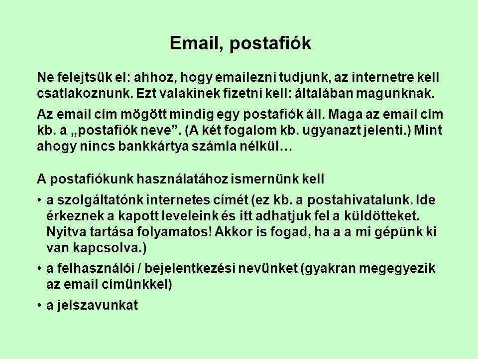 Email, postafiók Ne felejtsük el: ahhoz, hogy emailezni tudjunk, az internetre kell csatlakoznunk. Ezt valakinek fizetni kell: általában magunknak. Az