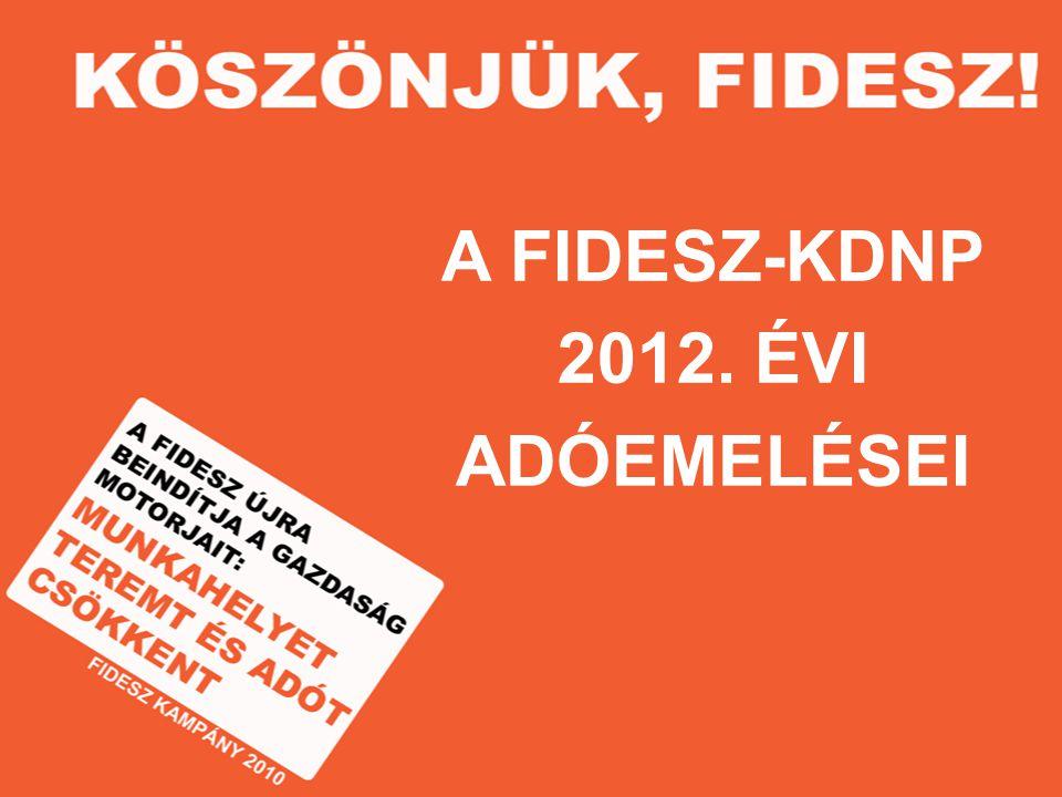 A FIDESZ-KDNP 2012. ÉVI ADÓEMELÉSEI