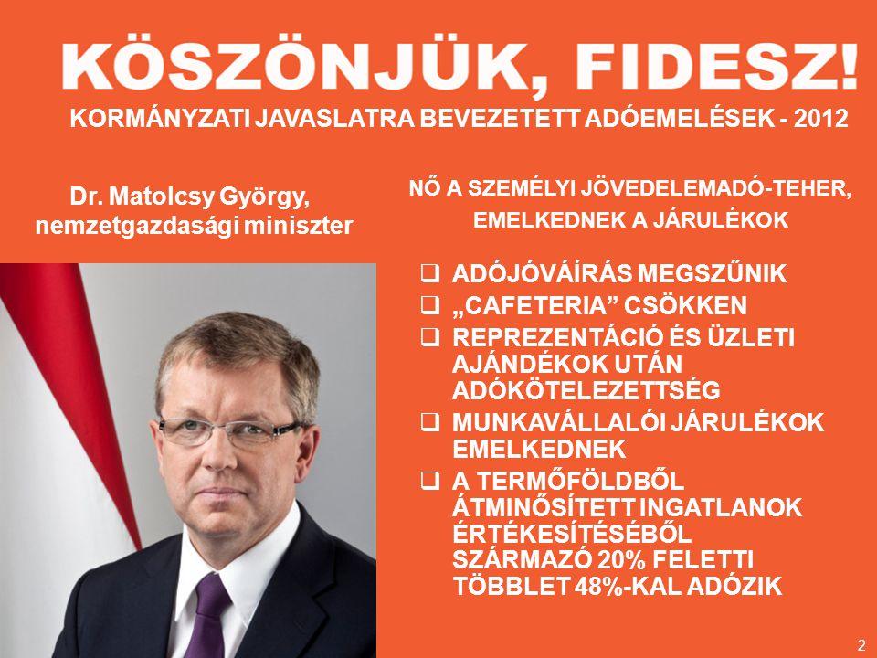 KORMÁNYZATI JAVASLATRA BEVEZETETT ADÓEMELÉSEK - 2012 Dr.
