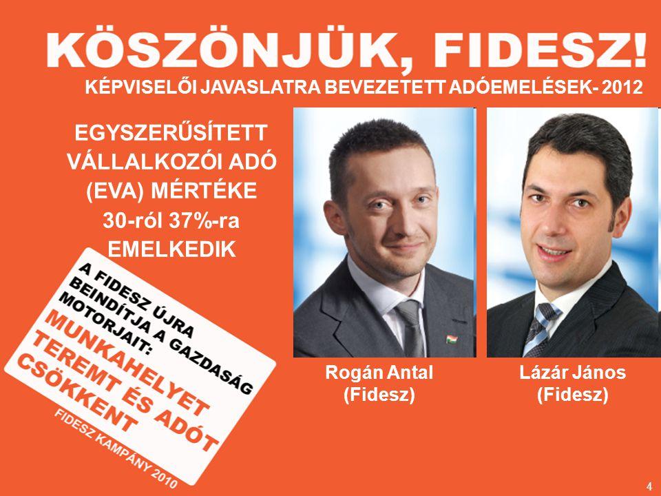 Rogán Antal (Fidesz) KÉPVISELŐI JAVASLATRA BEVEZETETT ADÓEMELÉSEK- 2012 Lázár János (Fidesz) EGYSZERŰSÍTETT VÁLLALKOZÓI ADÓ (EVA) MÉRTÉKE 30-ról 37%-ra EMELKEDIK 4