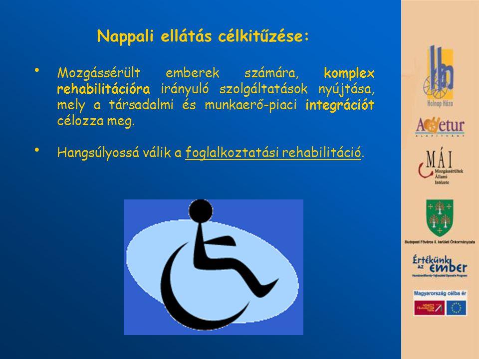 Nappali ellátás célkitűzése: Mozgássérült emberek számára, komplex rehabilitációra irányuló szolgáltatások nyújtása, mely a társadalmi és munkaerő-pia