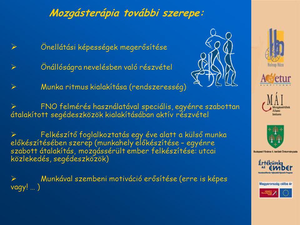 Mozgásterápia további szerepe:  Önellátási képességek megerősítése  Önállóságra nevelésben való részvétel  Munka ritmus kialakítása (rendszeresség)