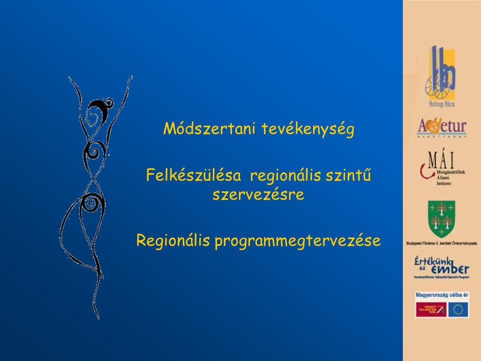 Módszertani tevékenység Felkészülésa regionális szintű szervezésre Regionális programmegtervezése