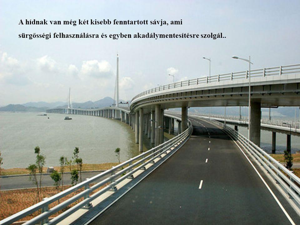 15 A hídnak van még két kisebb fenntartott sávja, ami sürgősségi felhasználásra és egyben akadálymentesítésre szolgál..