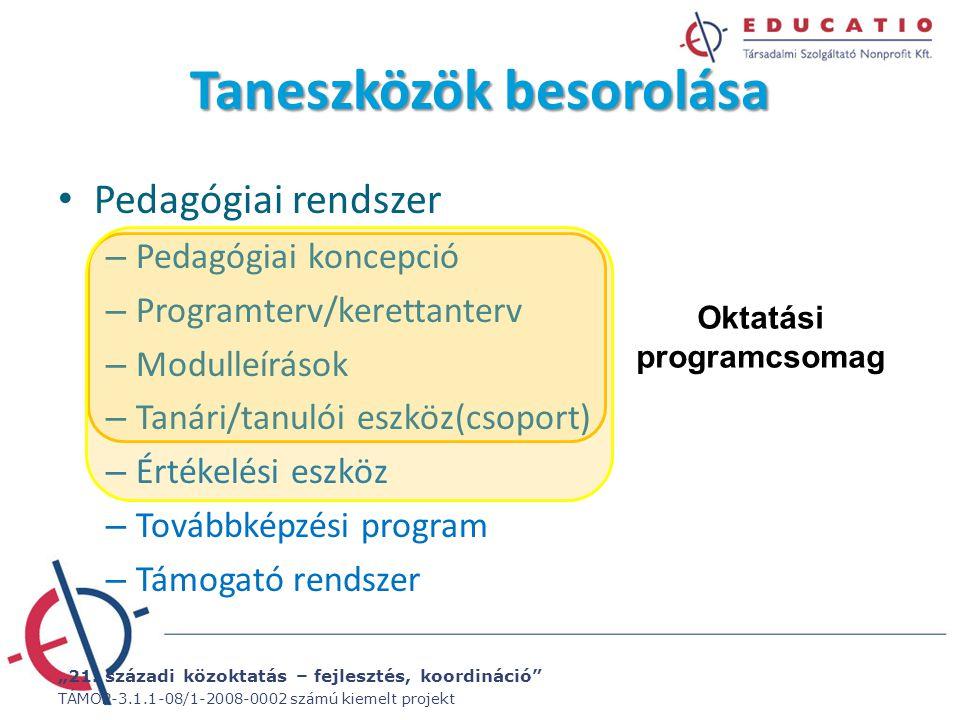 """""""21. századi közoktatás – fejlesztés, koordináció"""" TÁMOP-3.1.1-08/1-2008-0002 számú kiemelt projekt Taneszközök besorolása Pedagógiai rendszer – Pedag"""