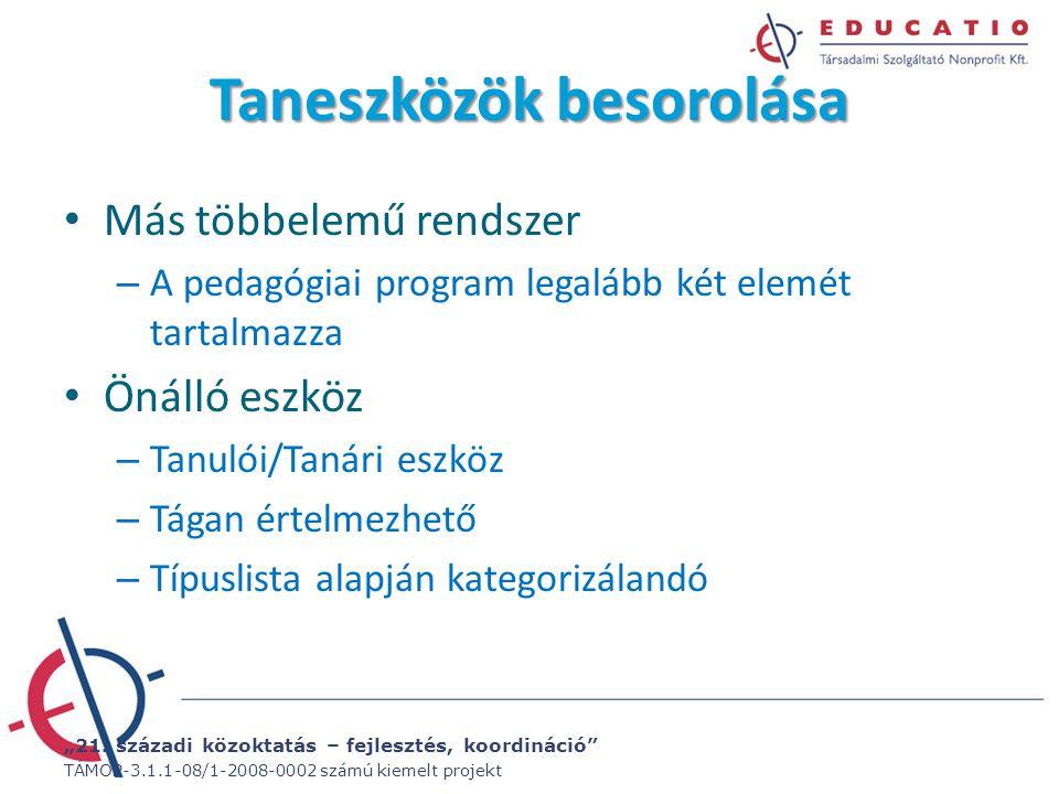 """""""21. századi közoktatás – fejlesztés, koordináció"""" TÁMOP-3.1.1-08/1-2008-0002 számú kiemelt projekt Taneszközök besorolása Más többelemű rendszer – A"""