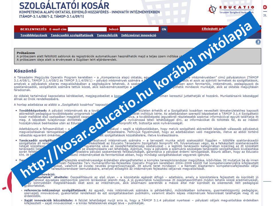 """""""21. századi közoktatás – fejlesztés, koordináció"""" TÁMOP-3.1.1-08/1-2008-0002 számú kiemelt projekt http://kosar.educatio.hu korábbi nyitólapja"""