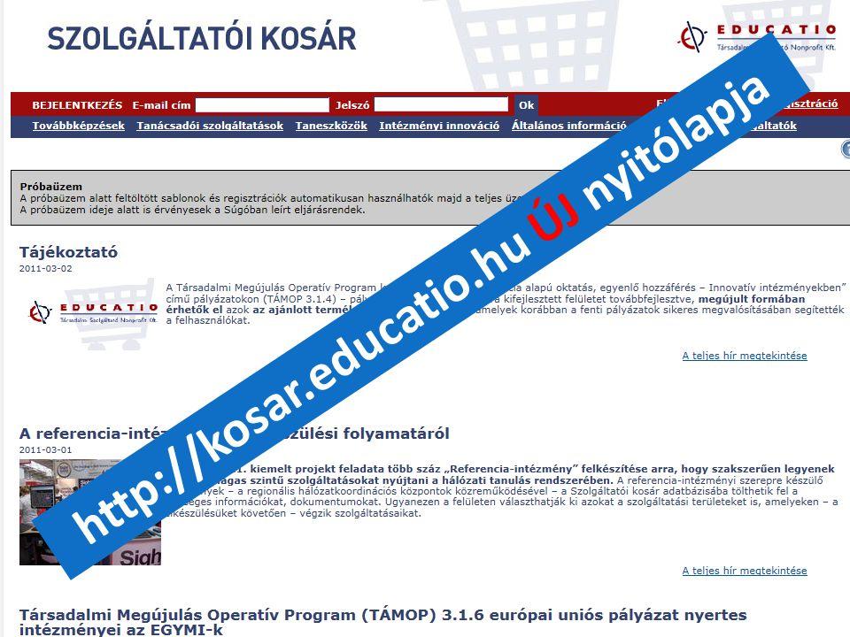 """""""21. századi közoktatás – fejlesztés, koordináció"""" TÁMOP-3.1.1-08/1-2008-0002 számú kiemelt projekt http://kosar.educatio.hu ÚJ nyitólapja"""
