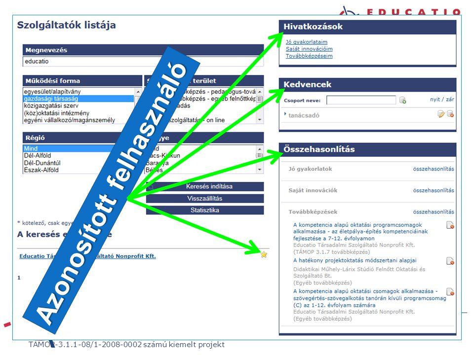 """""""21. századi közoktatás – fejlesztés, koordináció"""" TÁMOP-3.1.1-08/1-2008-0002 számú kiemelt projekt Azonosított felhasználó"""