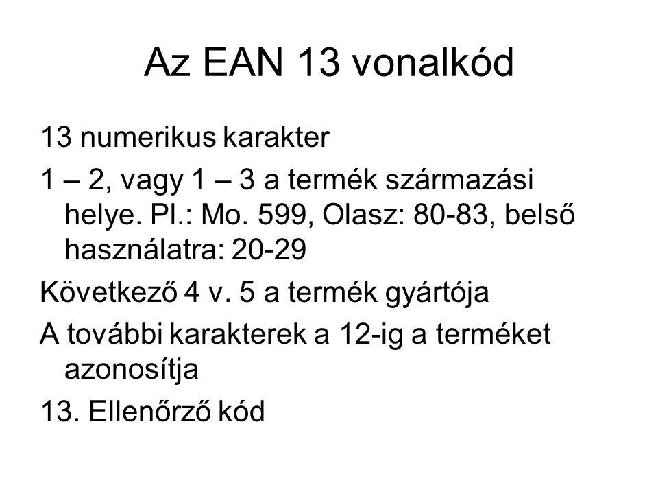 Az EAN 13 vonalkód 13 numerikus karakter 1 – 2, vagy 1 – 3 a termék származási helye. Pl.: Mo. 599, Olasz: 80-83, belső használatra: 20-29 Következő 4