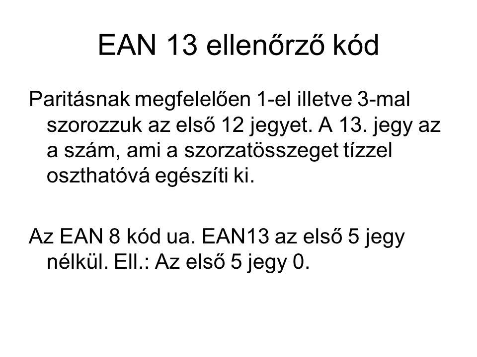 EAN 13 ellenőrző kód Paritásnak megfelelően 1-el illetve 3-mal szorozzuk az első 12 jegyet. A 13. jegy az a szám, ami a szorzatösszeget tízzel oszthat