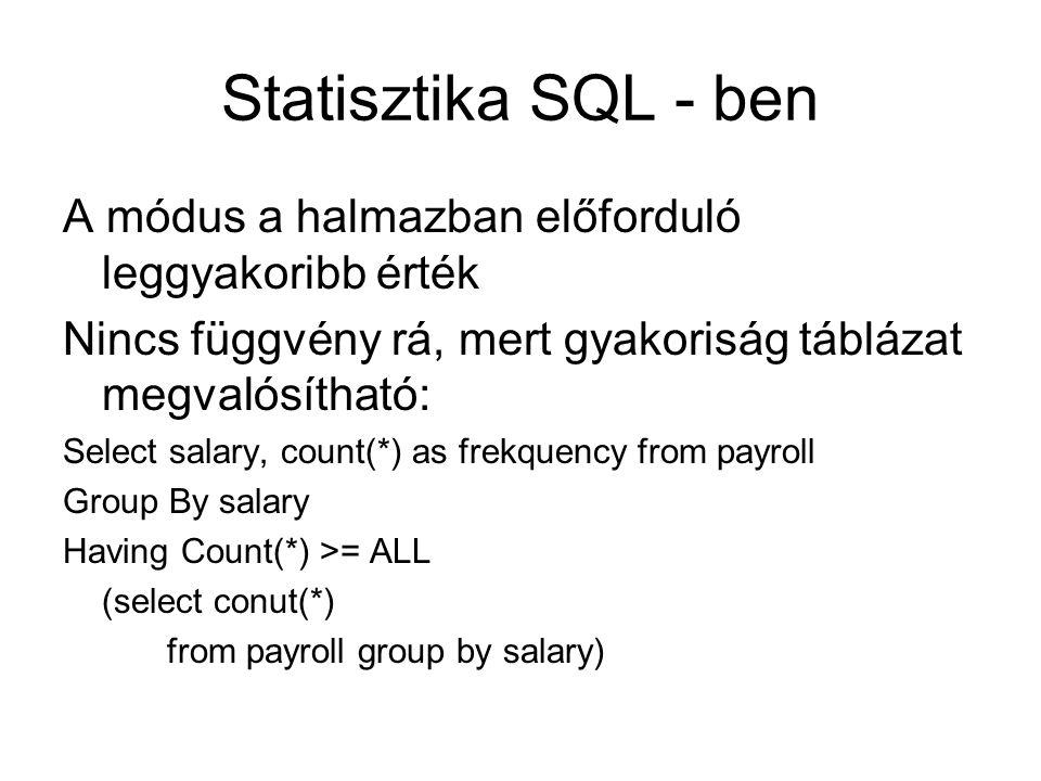 Statisztika SQL - ben A módus a halmazban előforduló leggyakoribb érték Nincs függvény rá, mert gyakoriság táblázat megvalósítható: Select salary, cou