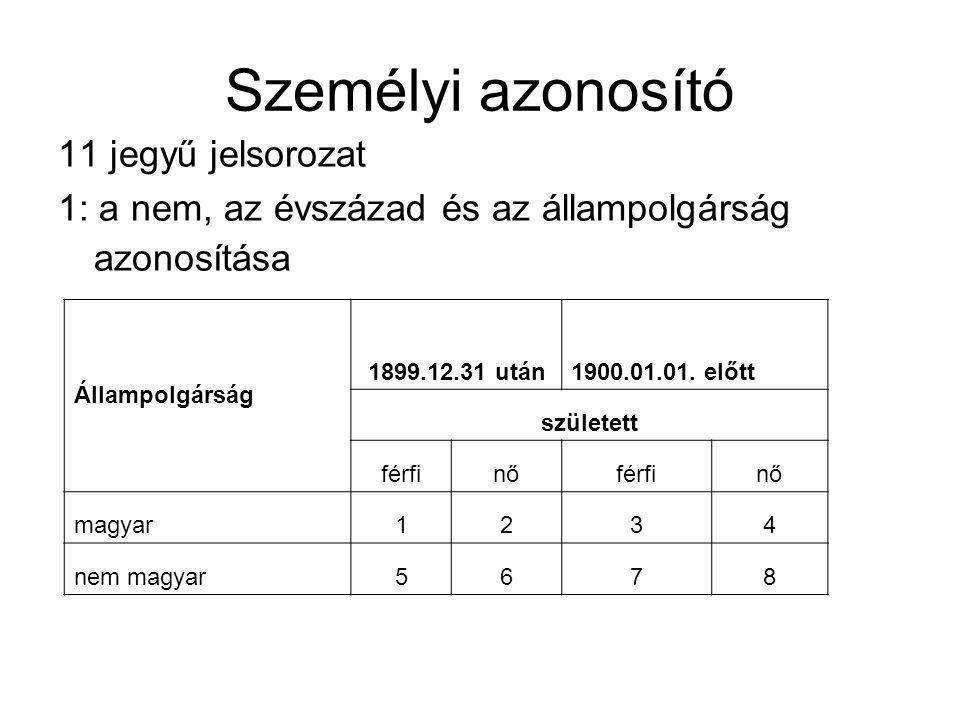 Személyi azonosító 11 jegyű jelsorozat 1: a nem, az évszázad és az állampolgárság azonosítása Állampolgárság 1899.12.31 után1900.01.01. előtt születet
