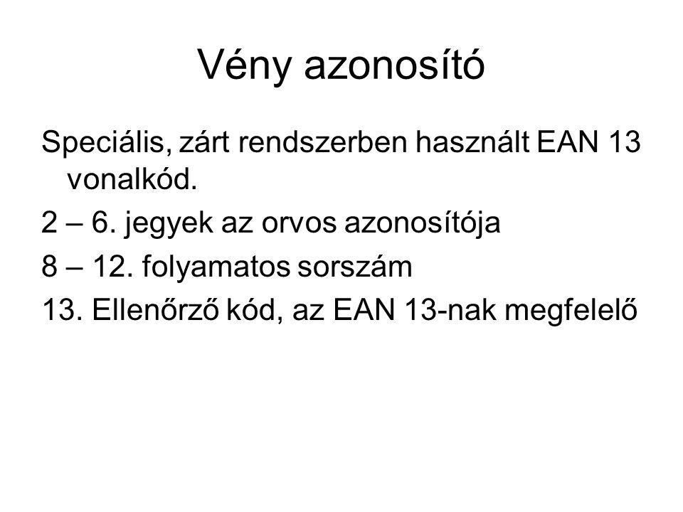 Vény azonosító Speciális, zárt rendszerben használt EAN 13 vonalkód. 2 – 6. jegyek az orvos azonosítója 8 – 12. folyamatos sorszám 13. Ellenőrző kód,