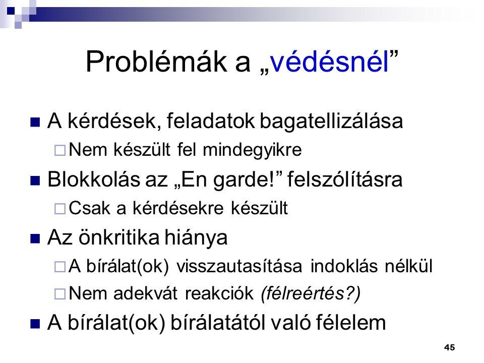 """Problémák a """"védésnél"""" A kérdések, feladatok bagatellizálása  Nem készült fel mindegyikre Blokkolás az """"En garde!"""" felszólításra  Csak a kérdésekre"""