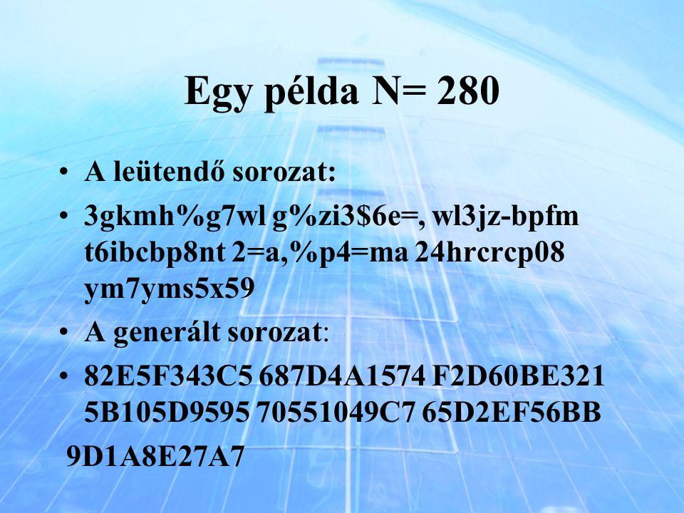 Egy példa N= 280 A leütendő sorozat: 3gkmh%g7wl g%zi3$6e=, wl3jz-bpfm t6ibcbp8nt 2=a,%p4=ma 24hrcrcp08 ym7yms5x59 A generált sorozat: 82E5F343C5 687D4