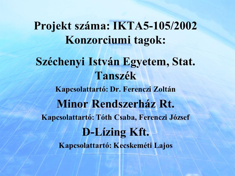 Projekt száma: IKTA5-105/2002 Konzorciumi tagok: Széchenyi István Egyetem, Stat. Tanszék Kapcsolattartó: Dr. Ferenczi Zoltán Minor Rendszerház Rt. Kap