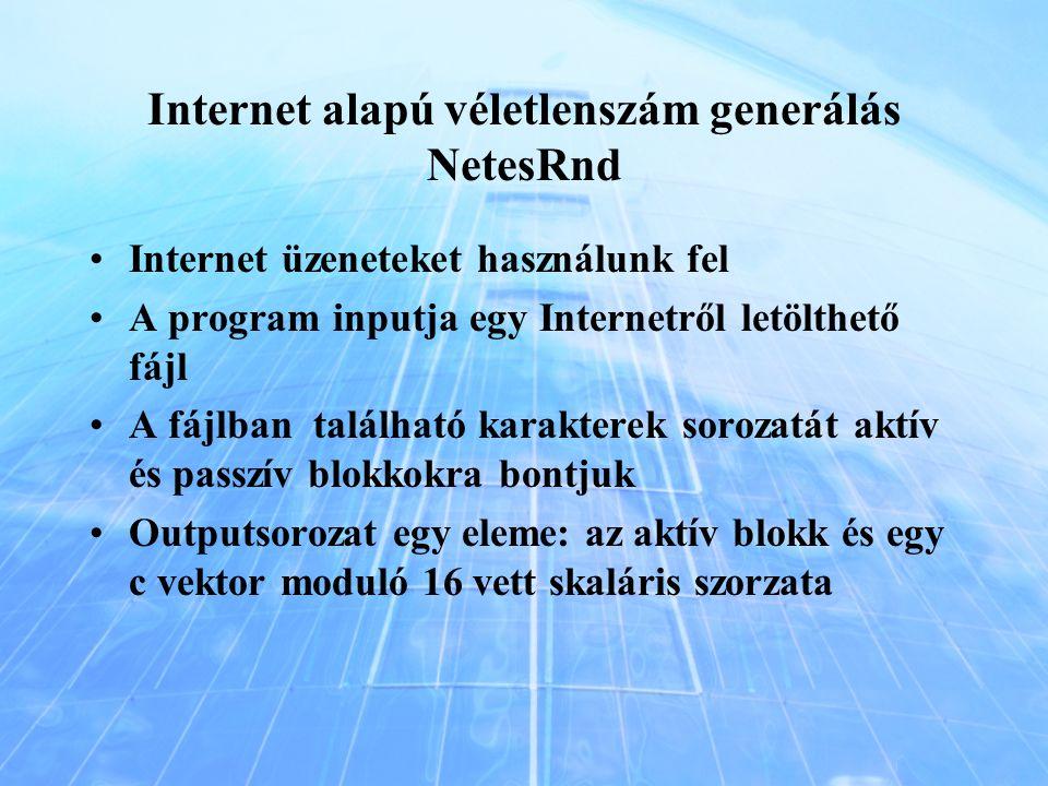 Internet alapú véletlenszám generálás NetesRnd Internet üzeneteket használunk fel A program inputja egy Internetről letölthető fájl A fájlban találhat