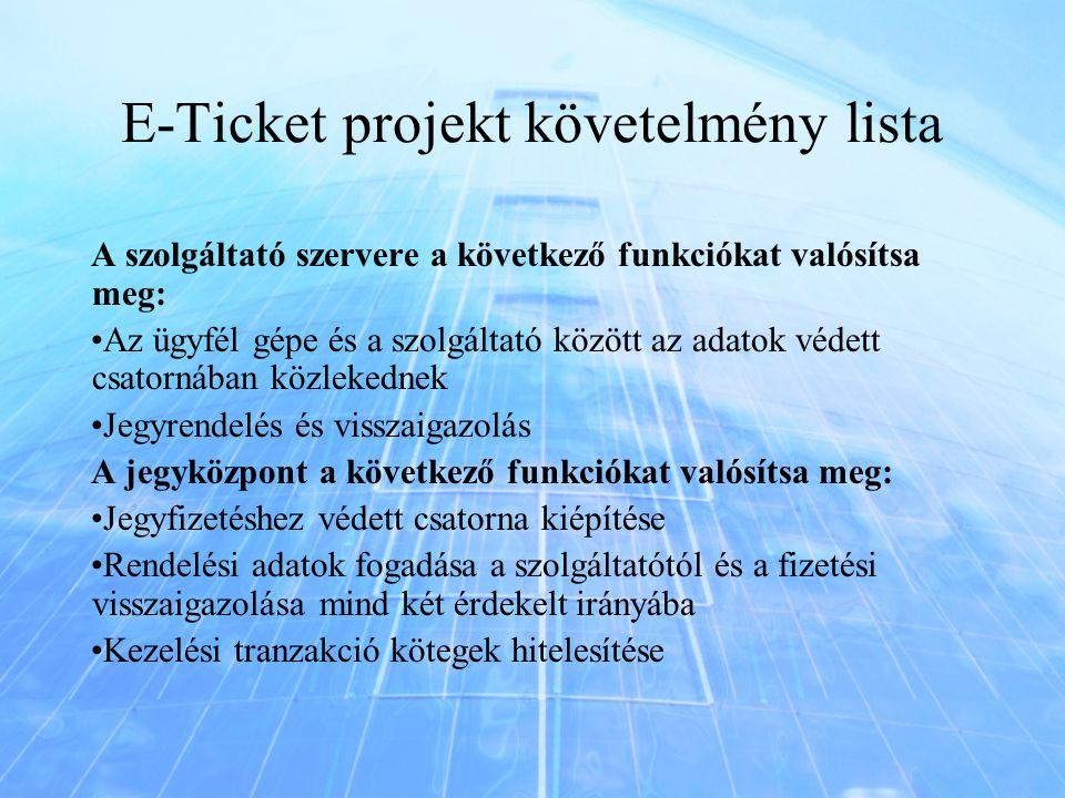 E-Ticket projekt követelmény lista A szolgáltató szervere a következő funkciókat valósítsa meg: Az ügyfél gépe és a szolgáltató között az adatok védet