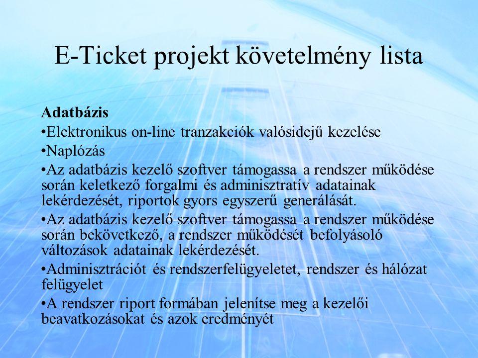 E-Ticket projekt követelmény lista Adatbázis Elektronikus on-line tranzakciók valósidejű kezelése Naplózás Az adatbázis kezelő szoftver támogassa a re