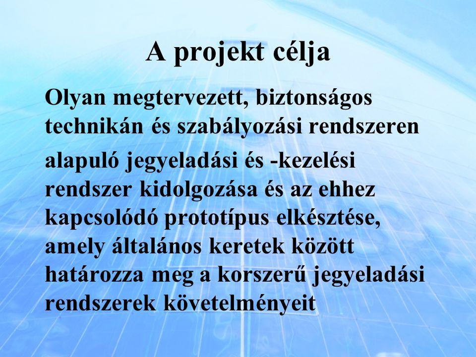 A projekt célja Olyan megtervezett, biztonságos technikán és szabályozási rendszeren alapuló jegyeladási és -kezelési rendszer kidolgozása és az ehhez