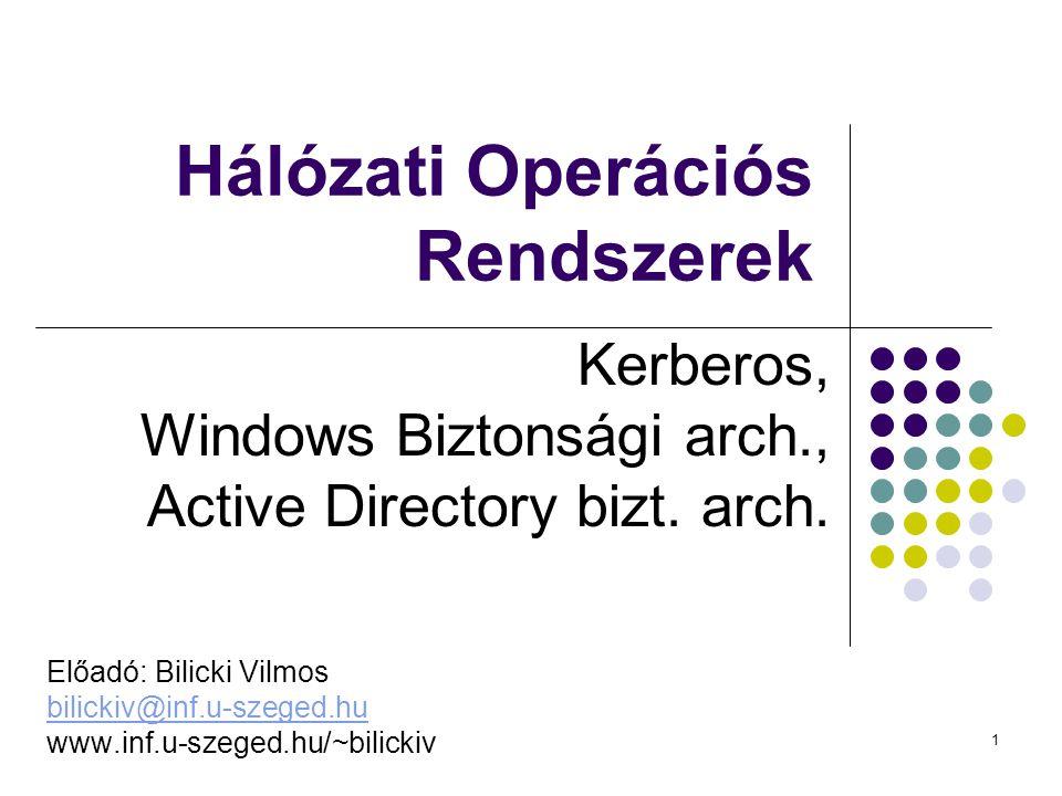 1 Hálózati Operációs Rendszerek Kerberos, Windows Biztonsági arch., Active Directory bizt. arch. Előadó: Bilicki Vilmos bilickiv@inf.u-szeged.hu www.i