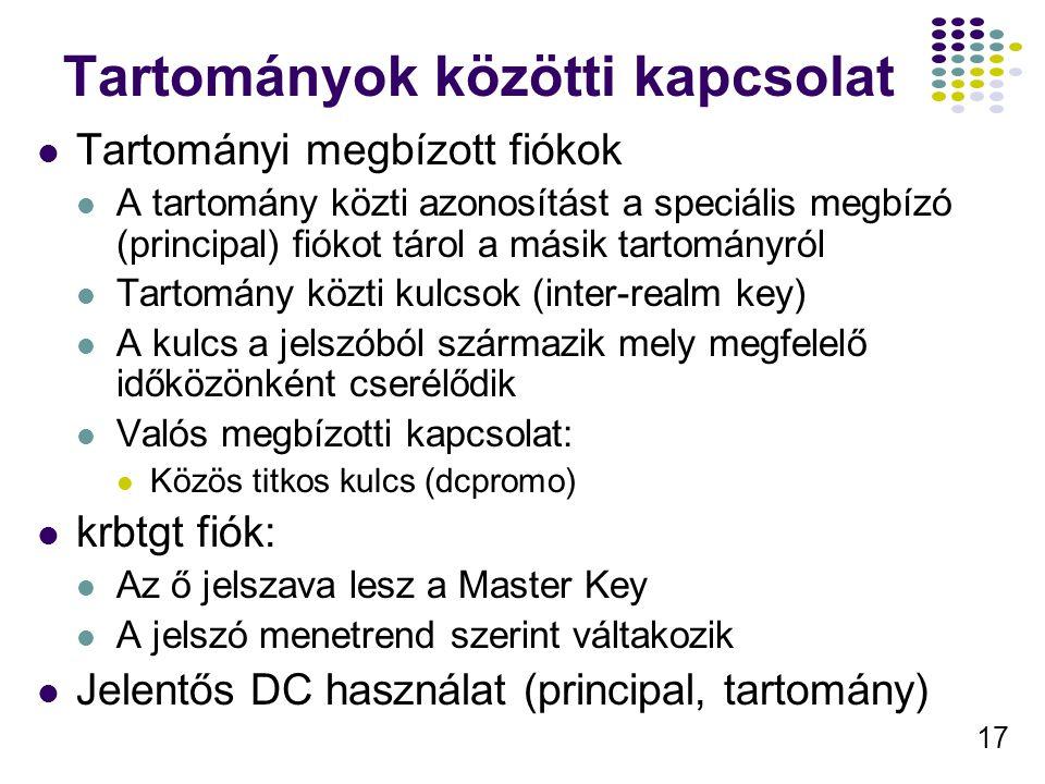 17 Tartományok közötti kapcsolat Tartományi megbízott fiókok A tartomány közti azonosítást a speciális megbízó (principal) fiókot tárol a másik tartom