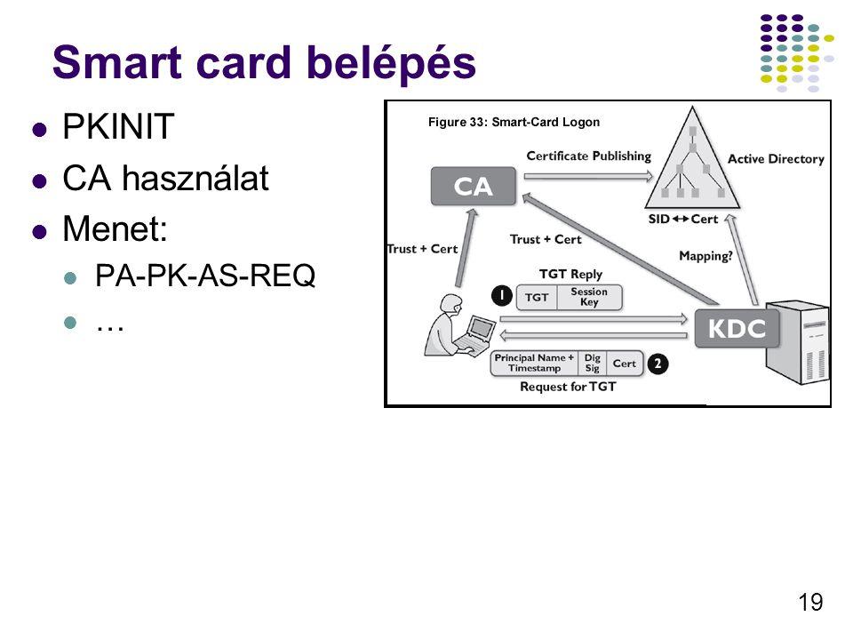 19 Smart card belépés PKINIT CA használat Menet: PA-PK-AS-REQ …