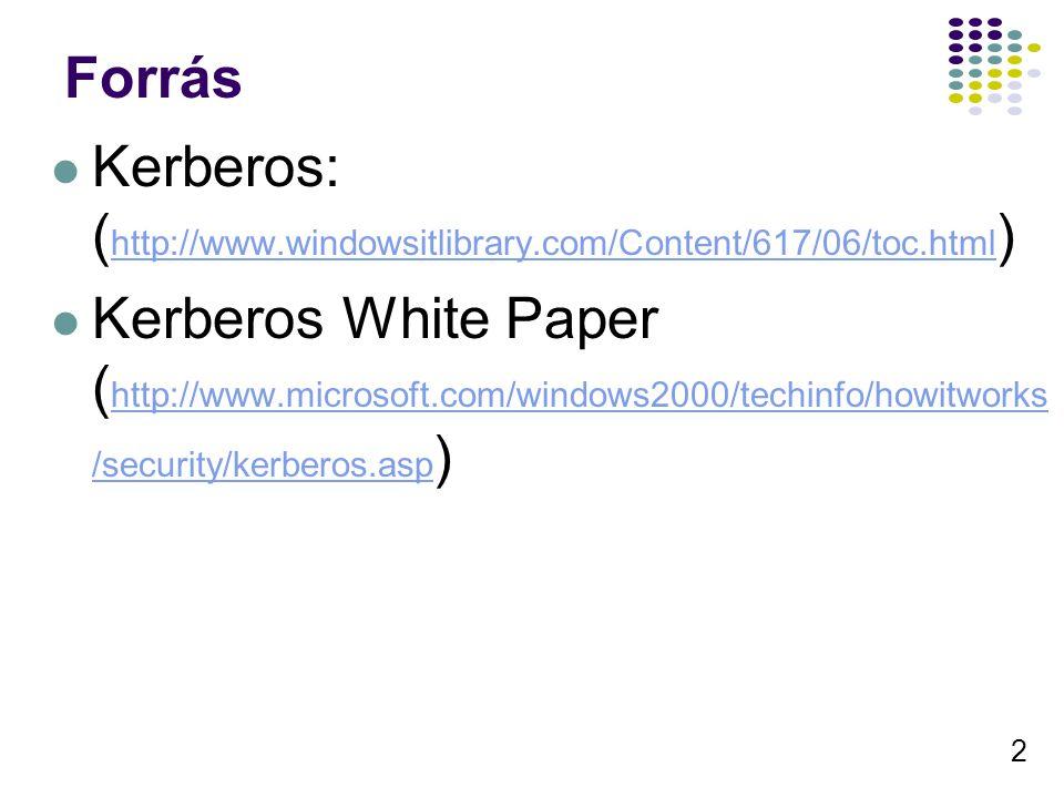 3 Tartalom (1) Kerberos újra Közös kulcs Kulcs kezelés KDC Kulcs elosztás Kulcs tipusok Jegy igénylő jegy Jegy tulajdonságok Azonositás delegálás Smart card bejelentkezés