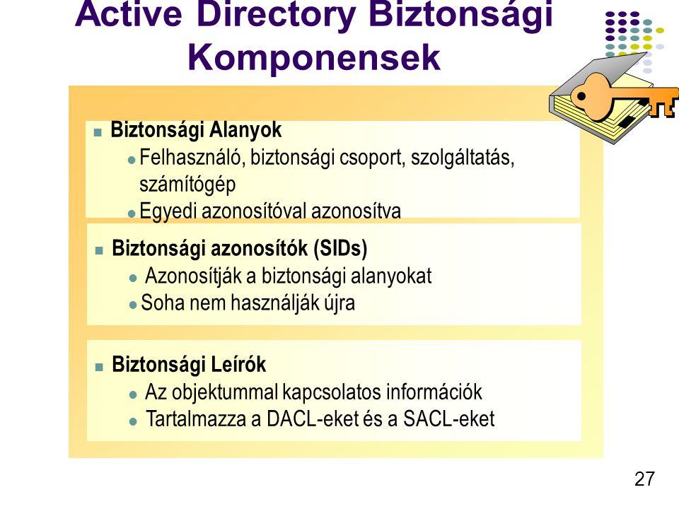 27 Active Directory Biztonsági Komponensek Biztonsági Alanyok Felhasználó, biztonsági csoport, szolgáltatás, számítógép Egyedi azonosítóval azonosítva