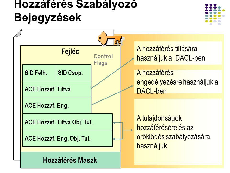 29 Hozzáférés Szabályozó Bejegyzések A hozzáférés tiltására használjuk a DACL-ben A hozzáférés engedélyezésre használjuk a DACL-ben A tulajdonságok ho