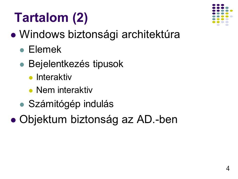 4 Tartalom (2) Windows biztonsági architektúra Elemek Bejelentkezés tipusok Interaktiv Nem interaktiv Számitógép indulás Objektum biztonság az AD.-ben