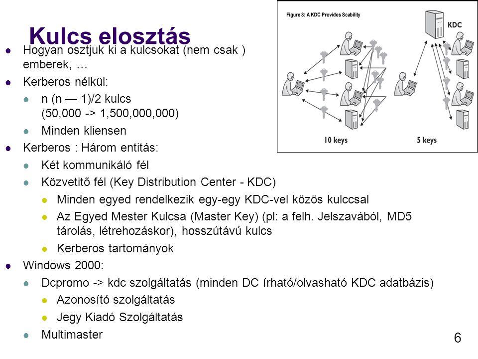 7 Kerberos jegy Biztonságos csatorna építhető ki a segítségével Kereberos: Azonosító Szolgáltatás (Authentication Service) Jegykiosztó Szolgáltatás (Ticket-Granting Service) Mindenki megbízik a KDC által legyártott viszonykulcsokban (nem csak a Master Key-ben) A viszonykulcs minősége a Windows 2000 véletlen szám generátorától függ (Nem a felh.