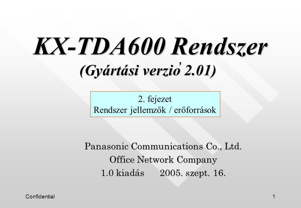 Confidential1 Panasonic Communications Co., Ltd. Office Network Company 1.0 kiadás 2005.