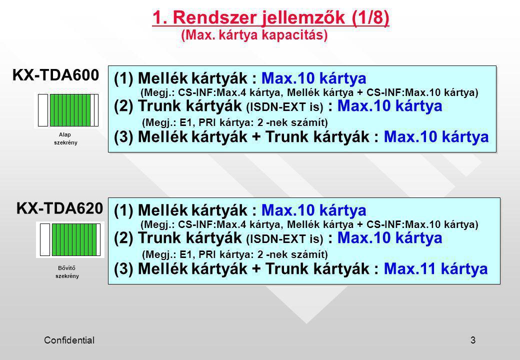 Confidential3 (1) Mellék kártyák : Max.10 kártya (Megj.: CS-INF:Max.4 kártya, Mellék kártya + CS-INF:Max.10 kártya) (2) Trunk kártyák (ISDN-EXT is) : Max.10 kártya (Megj.: E1, PRI kártya: 2 -nek számít) (3) Mellék kártyák + Trunk kártyák : Max.10 kártya (1) Mellék kártyák : Max.10 kártya (Megj.: CS-INF:Max.4 kártya, Mellék kártya + CS-INF:Max.10 kártya) (2) Trunk kártyák (ISDN-EXT is) : Max.10 kártya (Megj.: E1, PRI kártya: 2 -nek számít) (3) Mellék kártyák + Trunk kártyák : Max.10 kártya 1.
