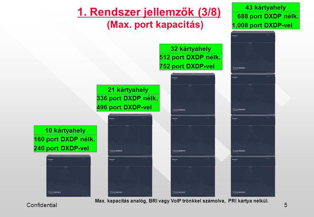 Confidential5 1. Rendszer jellemzők (3/8) 160 port DXDP nélk.