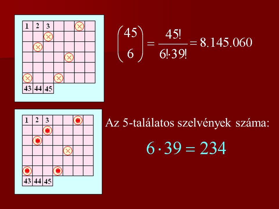 3. feladat A 6-os lottón 6 számot kell eltalálni 45-ből. Ha minden lehetséges módon kitöltenénk annyi szelvényt, amennyi kell ahhoz, hogy biztosan leg