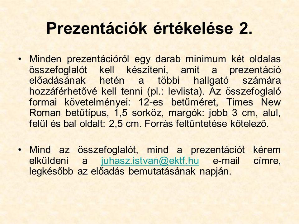 Prezentációk értékelése 2.