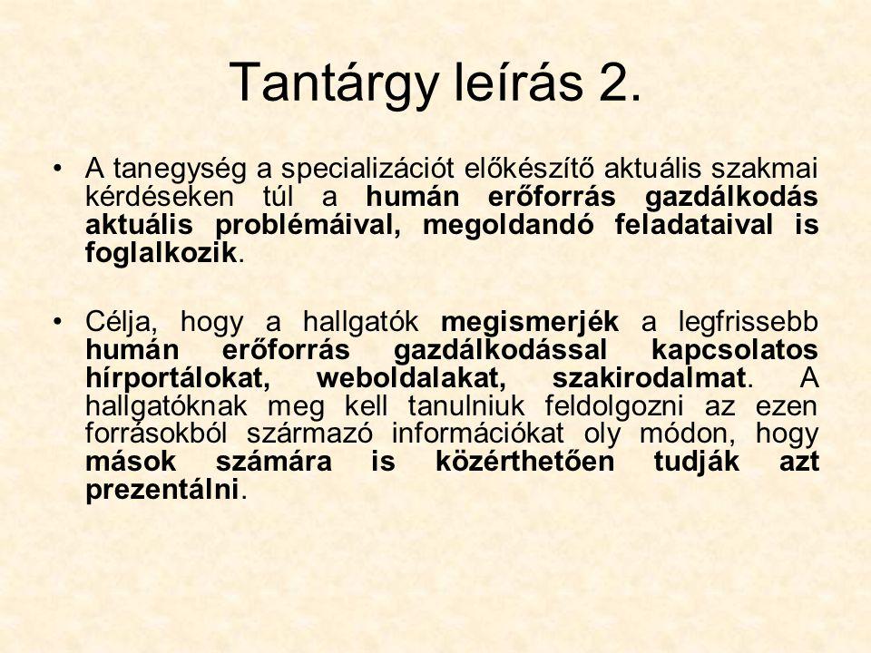 Tantárgy leírás 2.