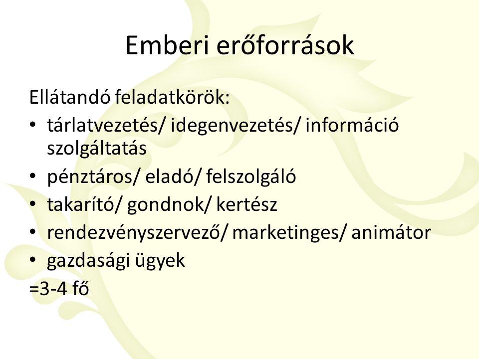 Emberi erőforrások Ellátandó feladatkörök: tárlatvezetés/ idegenvezetés/ információ szolgáltatás pénztáros/ eladó/ felszolgáló takarító/ gondnok/ kertész rendezvényszervező/ marketinges/ animátor gazdasági ügyek =3-4 fő
